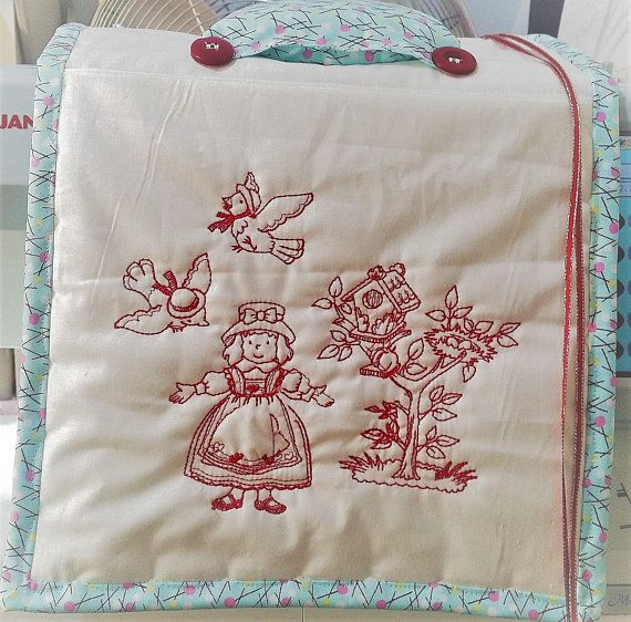 Sewing Caddy - Redwork Sewing Caddie - Embroidery Sewing Caddy - Sewing Caddy - Needlepoint Caddy - Medium Sewing Caddy