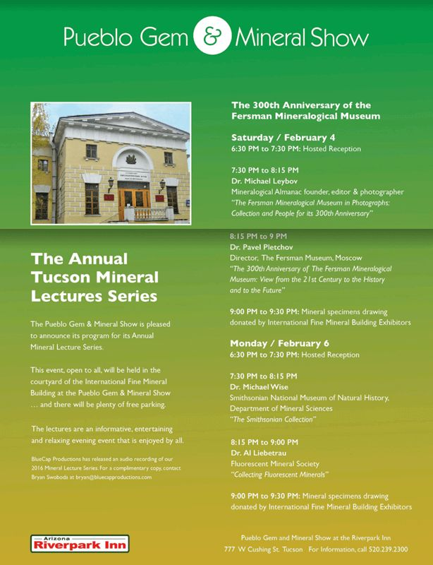 The most up-to-date information about shows, vendors, news, and weather for the Tucson Gem, Mineral & Fossil Showcase in Tucson, Arizona. Browse the guides for this showcase and view a map of show locations. The Tucson Gem, Mineral & Fossil Showcase starts on 1/26/2018. The show ends on 2/11/2018. The Showcase is located at Tucson, Arizona United States.