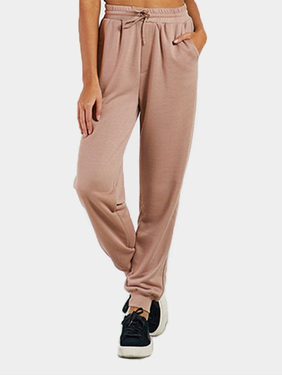 Here is a casual sport pant for you. Featuring plain color and drawstring waist.You can wear at sport day. Easy-matched style, sport day or casual look are ok.