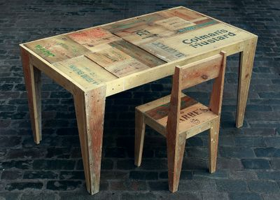 the crate furniture collection by rupert blanchard made from 100 recycled salvaged plywood hoarding - Garden Furniture Crates