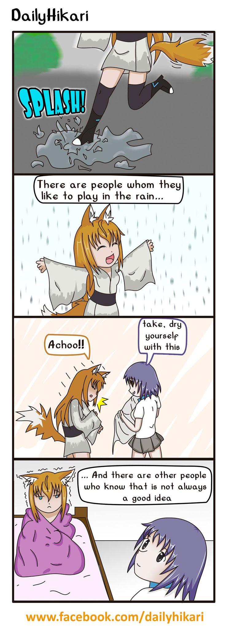 play under the rain is so funny,   ranning day, rain, kitsunemimi, kemonomimi, 4koma, webcomic, dailyhikari