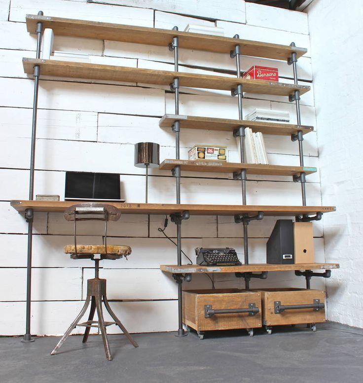 best 25 pipe desk ideas on pinterest industrial pipe. Black Bedroom Furniture Sets. Home Design Ideas