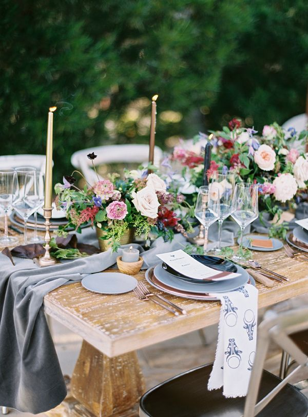 slate grey tablescape - photo by Brushfire Photography http://ruffledblog.com/masculine-edgy-wedding-inspiration