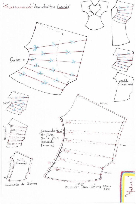 forma de transformar un molde de blusa para crear un efecto de fruncido en blusas para niñas #moda #blusas #modazeus