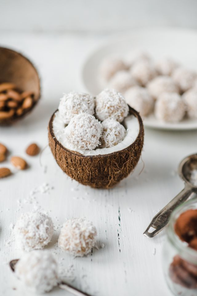 — raw vegan coconut almond truffles