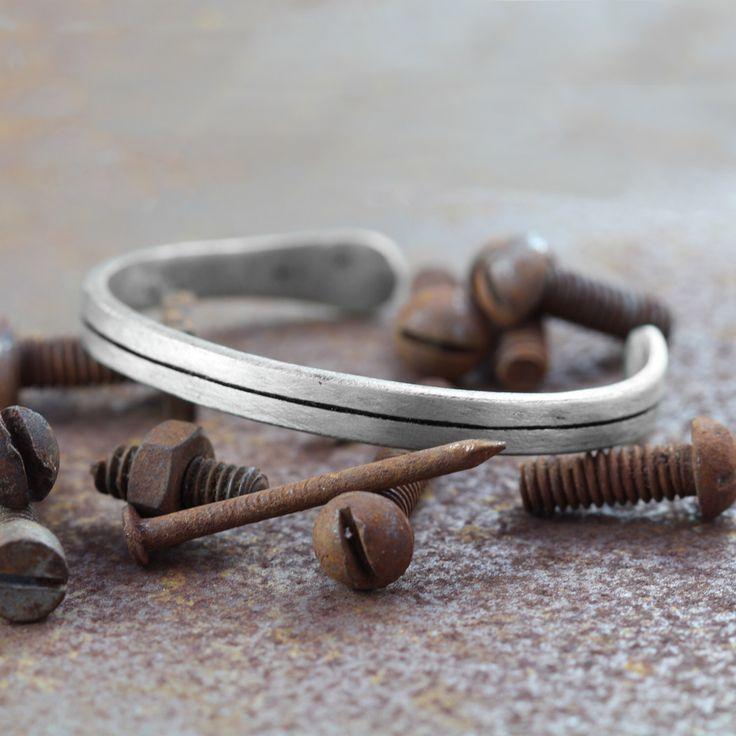 Mens Silver Bracelet Line Bangle Personalised Bracelets by carpediemjewellery on Etsy https://www.etsy.com/listing/228237020/mens-silver-bracelet-line-bangle