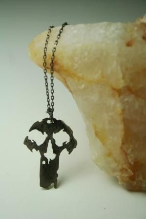 The punisher necklace, oxidized silver Handmade by BurCak