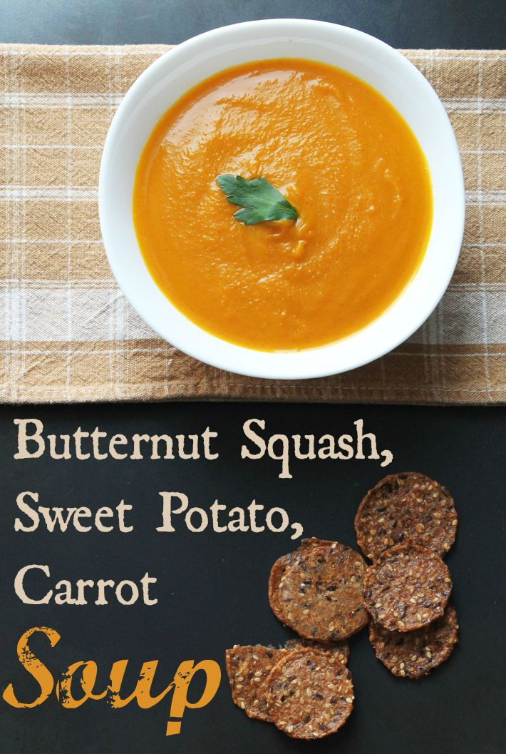 A simple recipe for slow cooker vegan butternut squash, sweet potato, carrot soup. Perfect for a cold winter's day.
