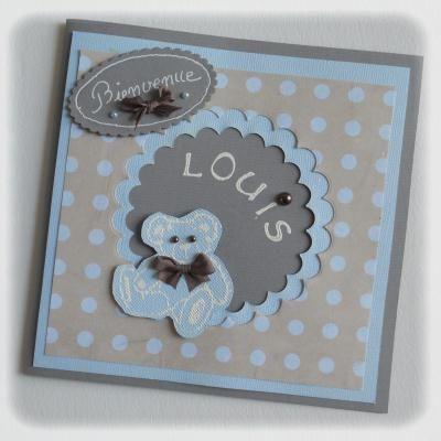 Carte de félicitations pour une naissance en bleu, gris et taupe / Welcoming baby card by Paucile
