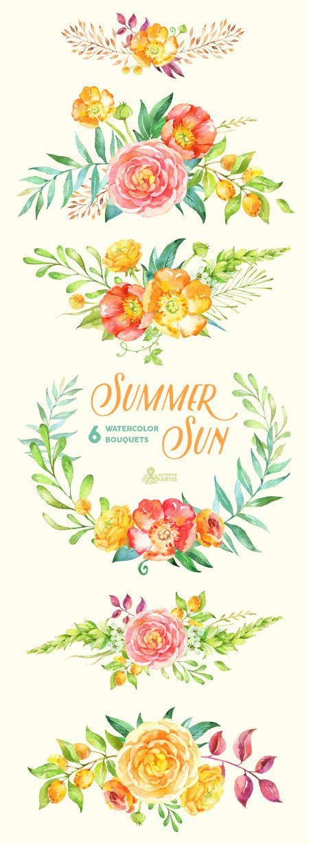 Summer Sun: 6 Watercolor Bouquets popies by OctopusArtis on Etsy