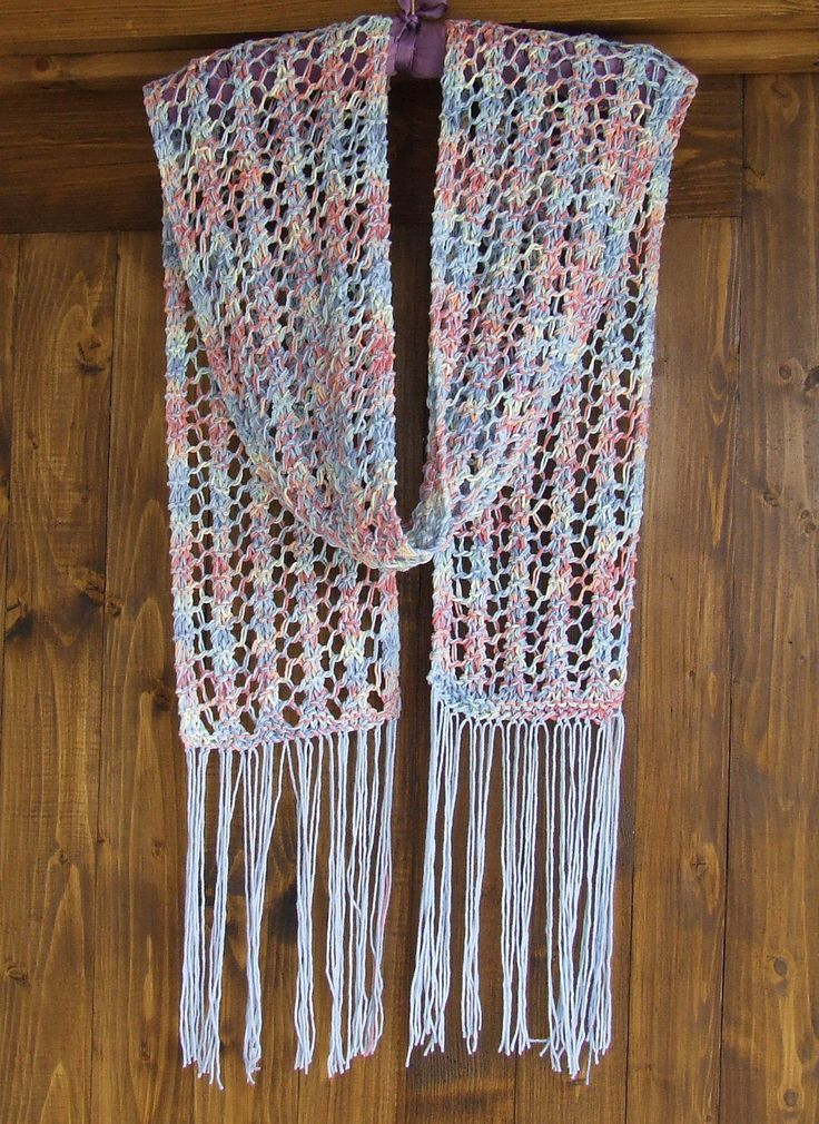 hand knit cotton summer scarf multi colour hippy style lacy scarf long boho rainbow