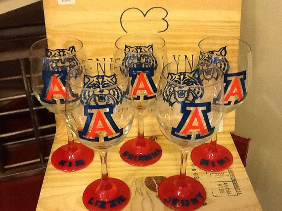 Hand Painted Personalized Arizona Wildcats Wine Glass on Etsy, $23.95