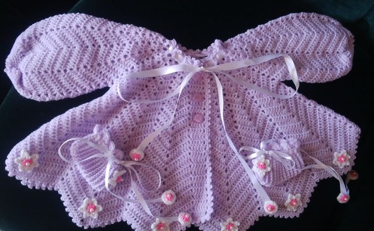 Baby wear, soft mauve with lovely flowers,  handmade by Merle, for baby or reborn dolls.