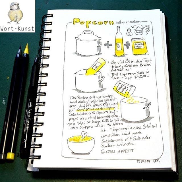 Nr. 19/365 Popcorn. Früher habe ich ja öfter mal Popcorn gemacht. Vielleicht sollte ich mal wieder Popcorn-Mais kaufen... Welche Variante mögt ihr eigentlich lieber - süß oder salzig?  @byJohannaFritz #365DoodlesmitJohanna #popcorn #corn #rezept #sketchnote #Mais #illustration #doodleaday #drawdaily #handdrawn #doodleart #dailydrawing