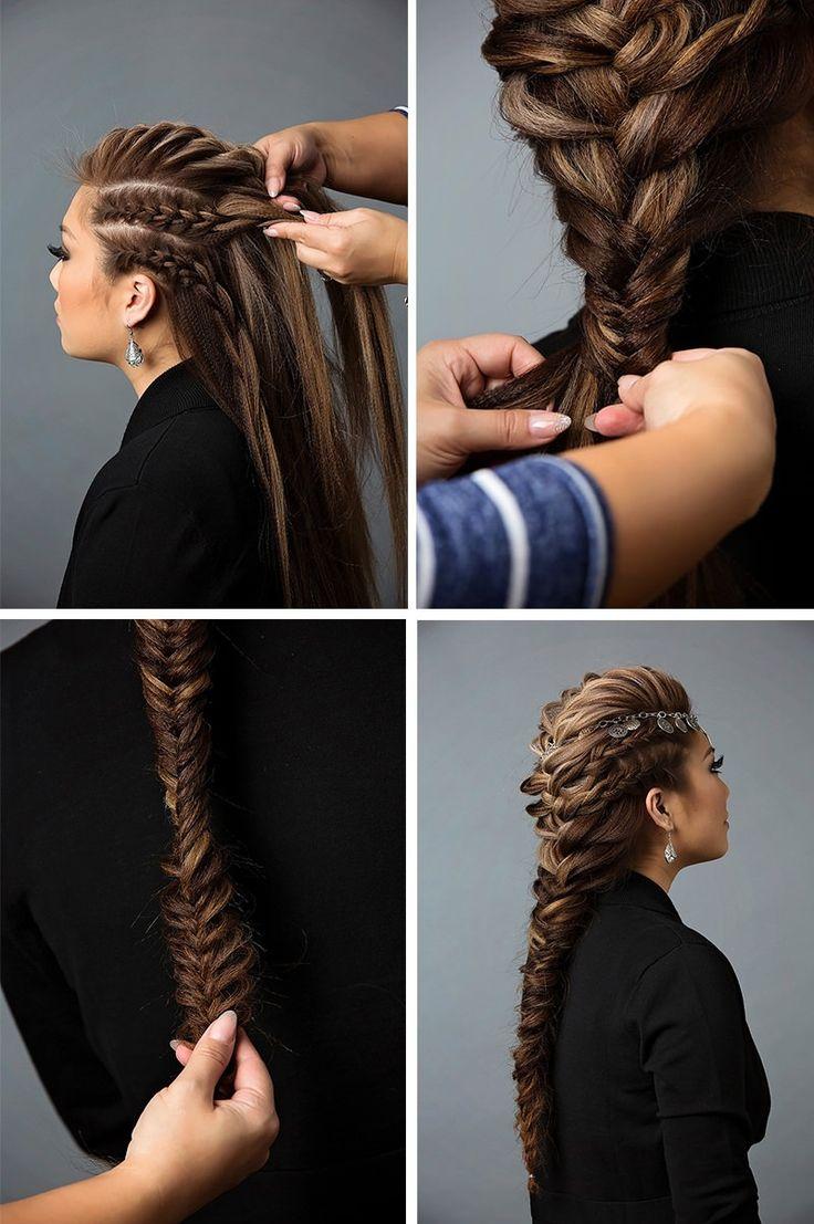 Прическа из комбинированных кос на длинные волосы. Шаг 5-8
