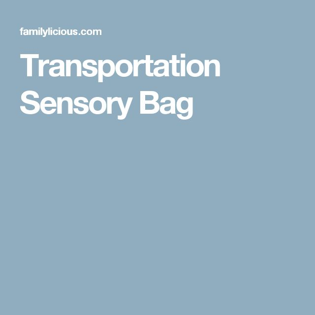 Transportation Sensory Bag