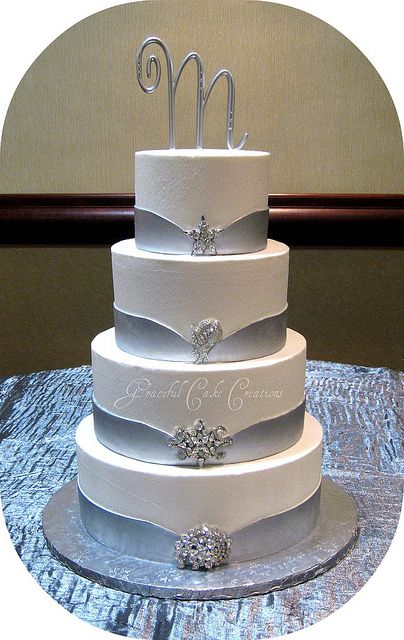 Elegant White and Silver Wedding Cake by Graceful Cake Creations, via Flickr