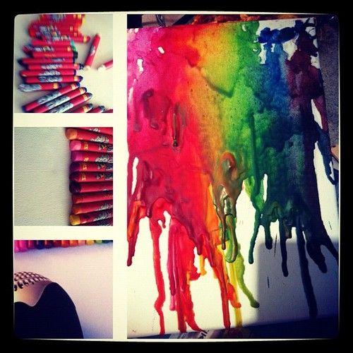 Crayon Art  Testade att skapa konst med hjälp av kritor och en hårfön. Roligt, enkelt och snyggt. #diy #crayonart #art #crayon ©idalindström