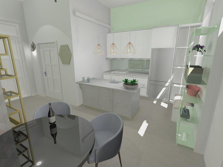 Small apartment kitchen interior design, Kis lakás konyha látványterv