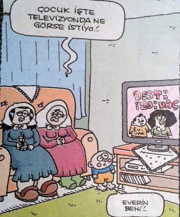 - Çocuk işte televizyonda ne görse istiyo!..  + Everin beni!..  #karikatür #mizah #matrak #komik #espri #şaka #gırgır #komiksözler