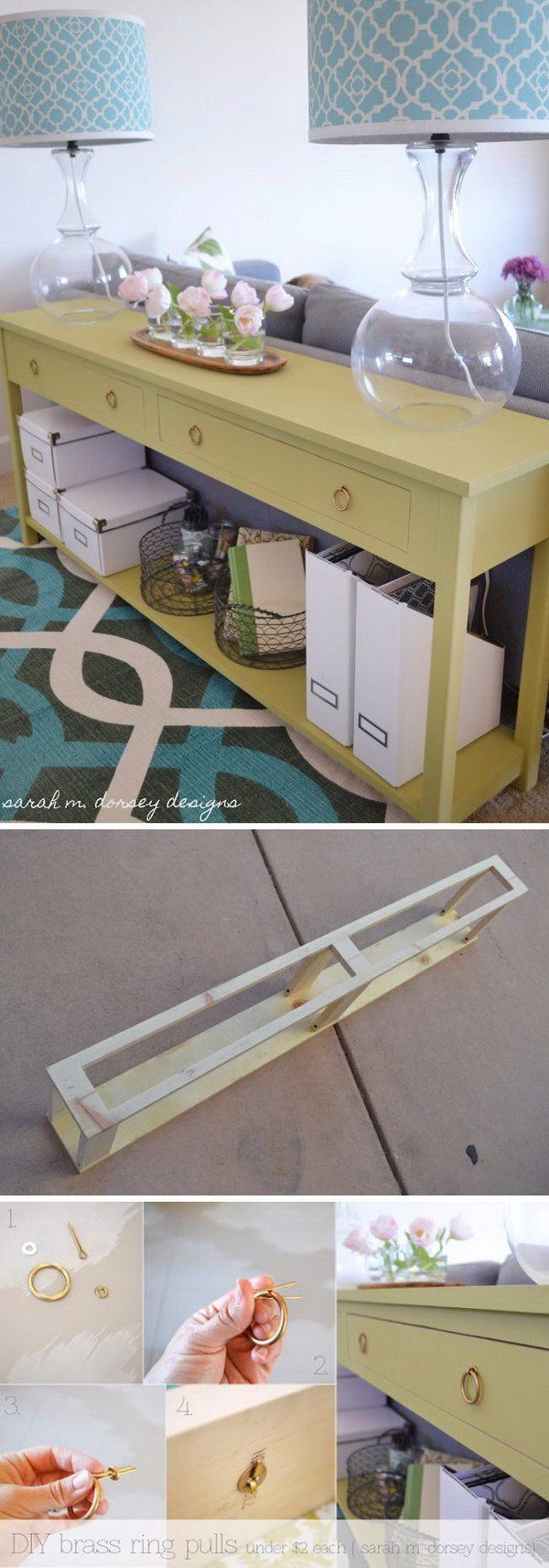 DIY Sofa Table Behind The Couch.   see next pic on brass rings for drawer pulls