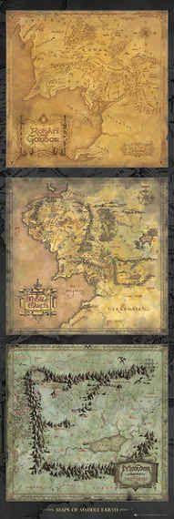 Posters Plakát, Obraz - Pán Prstenů - mapa Středozemě, (53 x 158 cm
