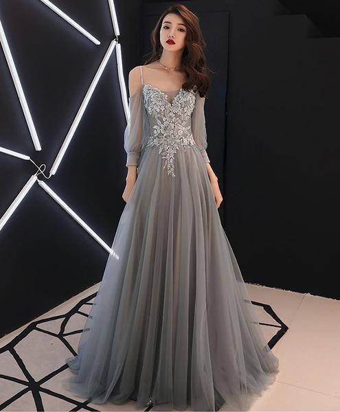 Grauer Schatz A-Linie Tüll langes Abendkleid, graues Abendkleid   – Dress2019