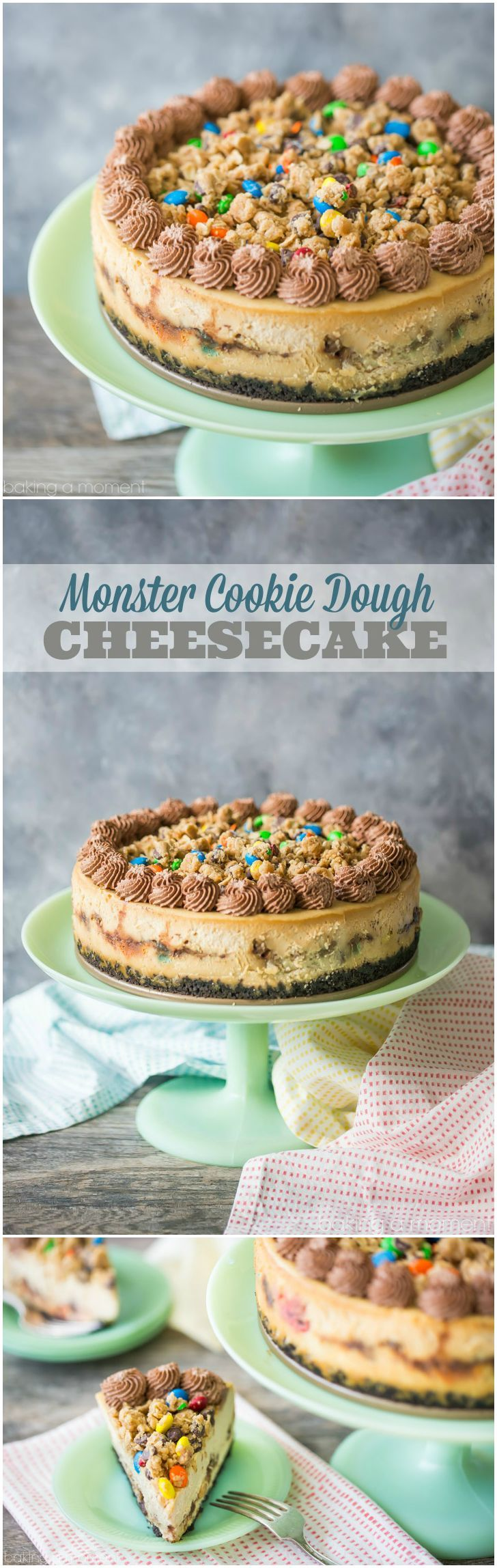 Monster Cookie Dough Cheesecake: OMG this dessert is completely over-the-top! Peanut butter cheesecake with hunks of peanut butter oatmeal m&m cookie dough, on an Oreo cookie crust, with more cookie dough on top and swirls of chocolate whipped cream. Such an incredible indulgence! #simplybeautifulhomemadecakes