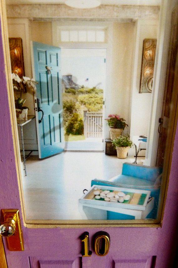 Fairy Door Light Purple w/Wood Stained Trim by apeekinside