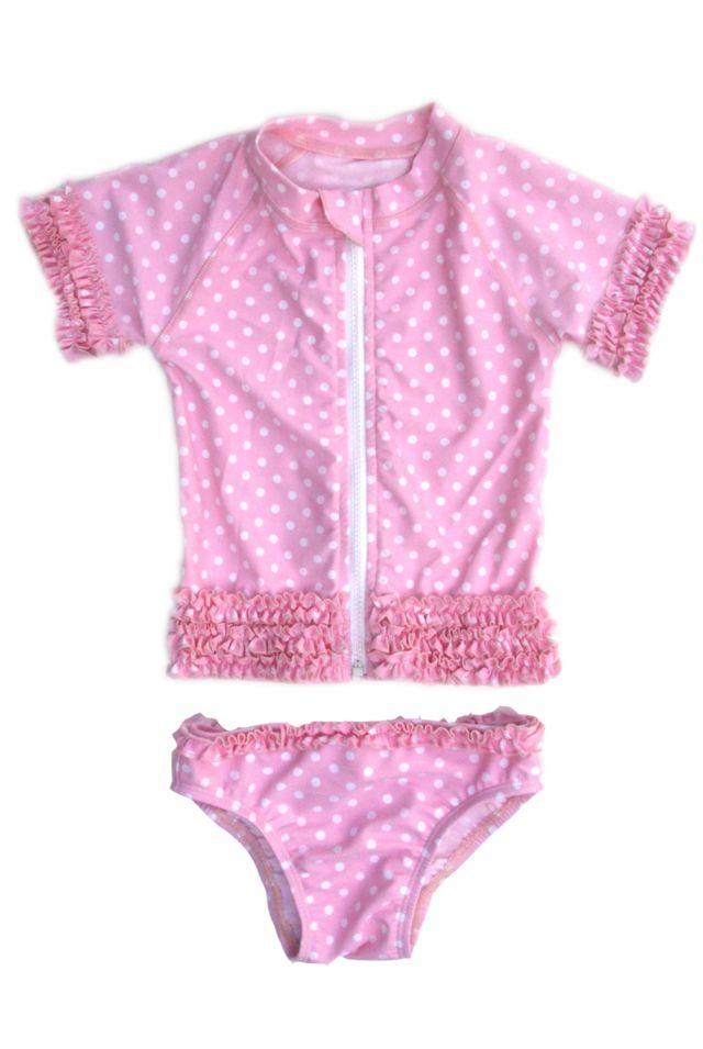 Swimzip pink ruffle swimwear for girls