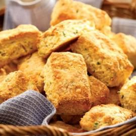 Cheddar Cornmeal Biscuits with Chives- These chive-flecked cornmeal biscuits taste best made with extra-sharp Cheddar, but any type of Cheddar will work. Nutrition-Per serving: 131 calories; 5 g fat ( 3 g sat , 1 g mono ); 15 mg cholesterol; 17 g carbohydrates; 4 g protein; 1 g fiber; 318 mg sodium; 39 mg potassium.
