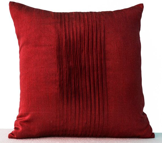Decorative Pillow Cover Red Faux Silk Pillow Accent by AmoreBeaute