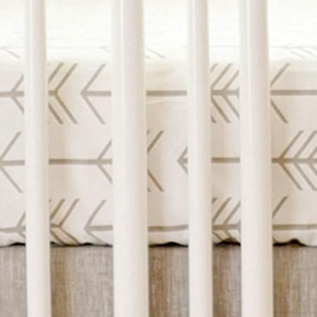 Our arrow crib sheet features a whimsical arrow pattern, and is perfect for a neutral nursery. This crisp 100% cotton crib sheet is made of our Ecru Arrow nursery fabric. Product Features: - All of ou