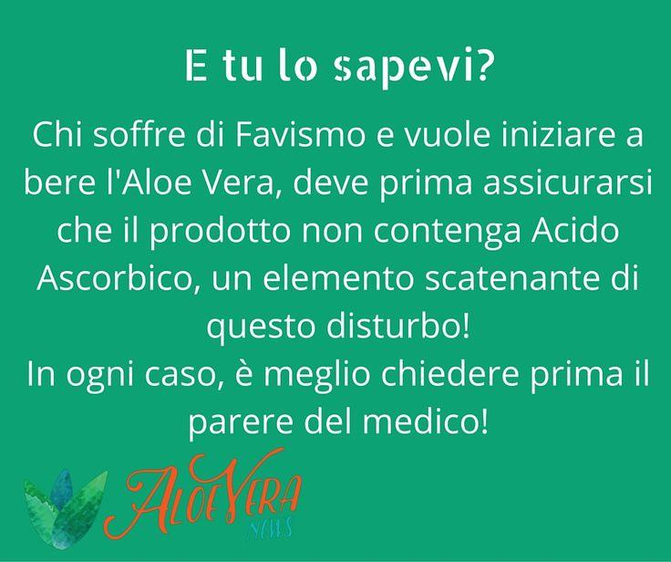 Chi soffre di favismo e vuole iniziare a bere l'Aloe Vera, deve prima assicurarsi che il prodotto non contenga Acido Ascorbico, un elemento scatenante di questo disturbo! In ogni caso, è meglio chiedere prima il parere del medico!