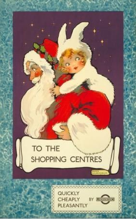 The Art of the Poster:  Christmas in London, 1922 -  To the shopping centres', by Agnes Richardson, 1922.  Published by Underground Electric Railway Company Ltd, 1922.  From the collection of the London Transport Museum.