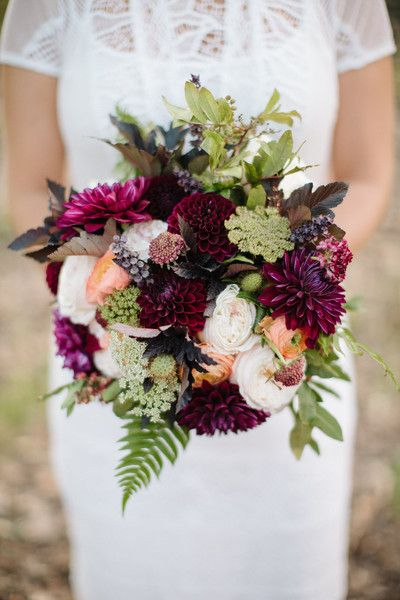 Fall wedding bouquet idea - burgundy + green blooms with Queen Anne's Lace {Naturally Yours Events}