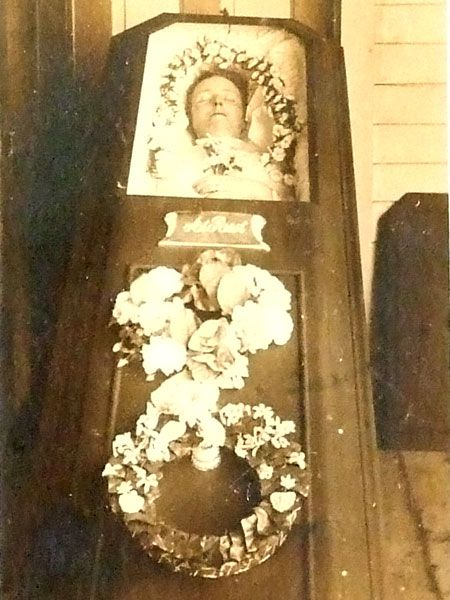 victorian post mortem photography skull illusion adults woman half casket