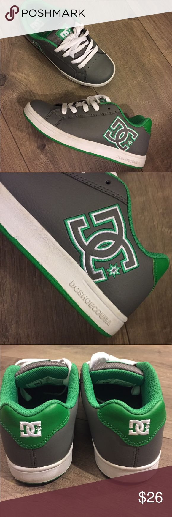 DC Shoes USA 💥NEW Boys size 4.5 Green & Gray 💥Only worn once!! NEW💥 only selling because I don't need any more shoes 😏 Ask me if you need any other details, but the photos should do. 🔺One dirt spot on the shoe lace from touching another pair of shoes but if you tuck the laces in you don't see it. Or replacing with shorter laces would look better.  I'm a women's size 6 and fit in these by the way. 👏For boys and girls! DC Shoes Sneakers