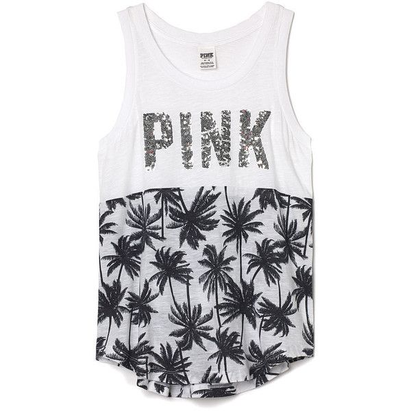 Victoria's Secret PINK Muscle Tank ($33) ❤ liked on Polyvore featuring tops, shirts, tank tops, tanks, blusas, drape shirt, oversized white shirt, victoria secret pink shirts, white muscle tank and shirts & tops