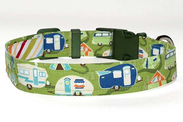 Camping Dog Collar - Green With RV Campers - 4 Sizes - Optional Key Fob Strap - Camping Accessories