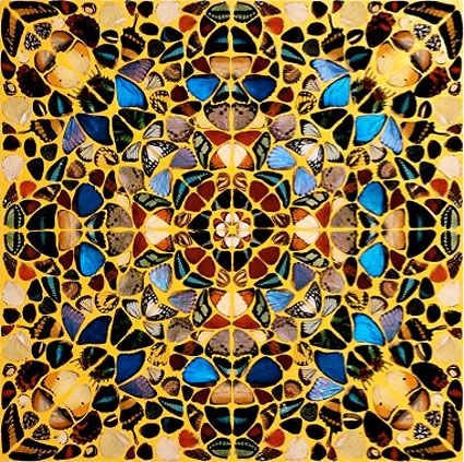 """""""Kaleidoscope VII"""" - Damien Hirst (Stained glass? Nope.  Thousands of butterfly wings.)"""