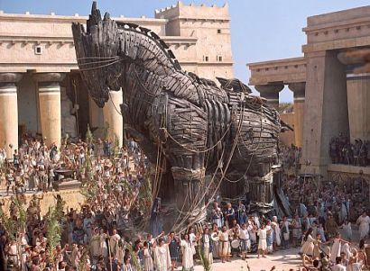 The Trojan Horse is a tale from the Trojan War about the subterfuge that the Greeks used to enter the city of Troy and win the war. In the canonical version, after a fruitless 10-year siege, the Greeks constructed a huge wooden horse, and hid a select force of men inside. The Greeks pretended to sail away, and the Trojans pulled the horse into their city as a victory trophy.