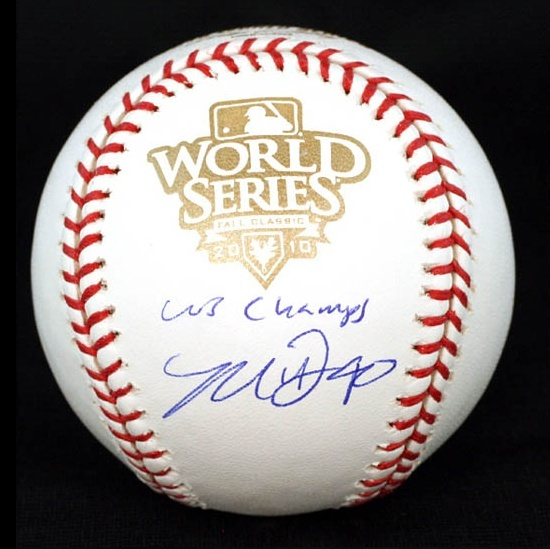 """MADISON BUMGARNER (""""40"""") autographed 2010 World Series baseball with """"WS Champs"""" inscription. In 2 World Series, Bumgarner has a collective 2-0 record with a 0.00 ERA in 15 innings pitched. By the way, the rumor that Bumgarner gave his wife a bull calf as a birthday gift is total B.S.  (It was actually a wedding gift!)"""
