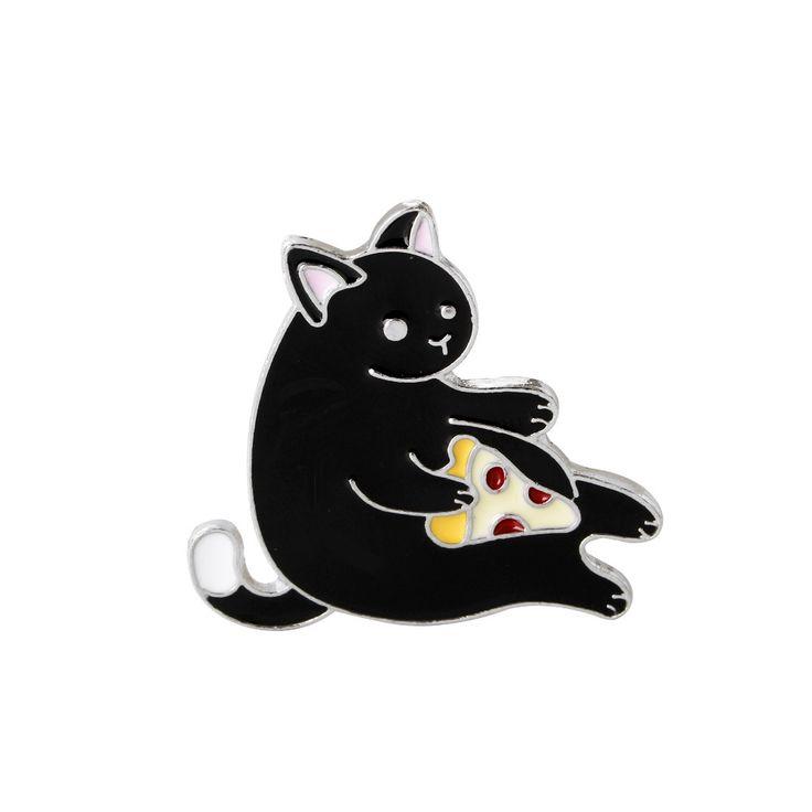 Chaqueta de Jeans de moda versión Coreana de la Historieta Sombrero Bolsa de Accesorios Broche Insignia Broche de Aleación de la Manera Negro gato Codicioso comer Pizza(China (Mainland))