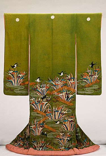 Furisode featuring Plank Bridges (Yatsuhashi), irises and Swallow.  Late 18th, early 19th century, Japan. Paste-resist dyeing (yuzen) and silk and metallic thread embroidery on yellow-green silk crepe (chirimen).  LACMA (Gift of Mrs. Philip A. Colman in memory of Philip A. Colman)