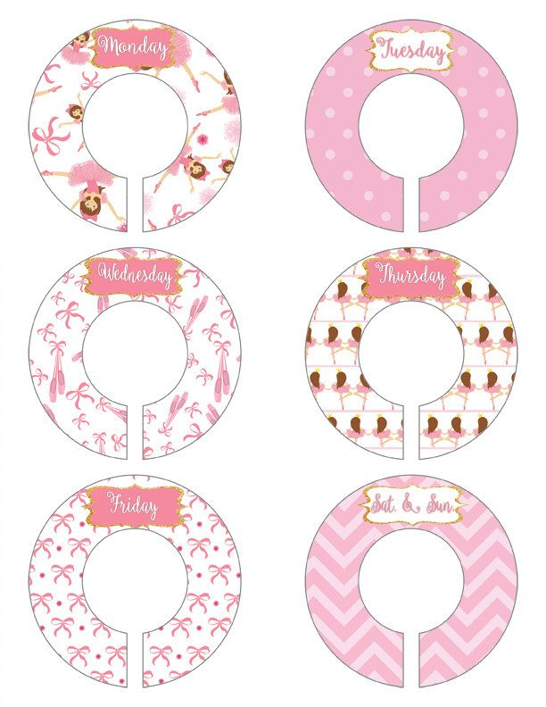 ON SALE Weekday Closet Organizers Flower Closet Dividers Victorian Closet Organizers Antique Closet Dividers Nursery Organizer Pink and Gree (8.00 USD) by MoonLitPrintables
