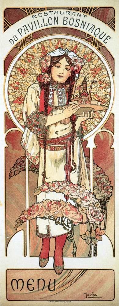 ❤ - Alphonse Mucha | Menu for the Bosnian Pavilion Restaurant at the Paris Exhibition - 1900.