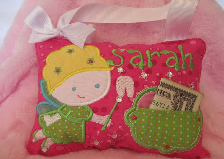 Tooth Fairy Pillow Appliqued for Girls by WhosWho on Etsy, $21.00