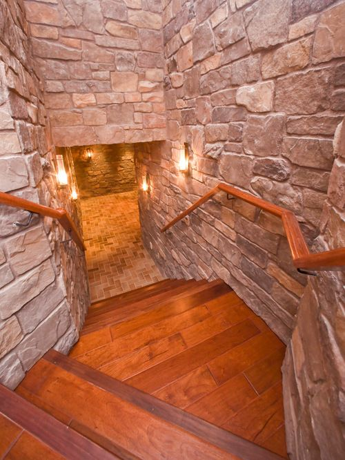 Rustic Man Cave  - love the stone work