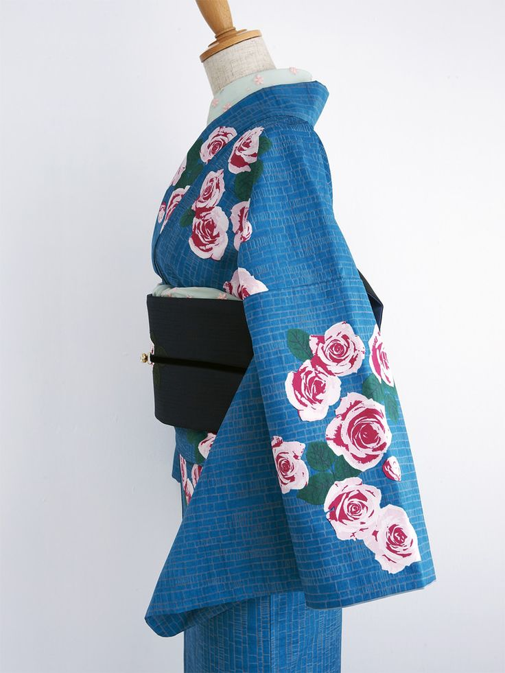 薔薇雨 着物・青 | DOUBLE MAISON